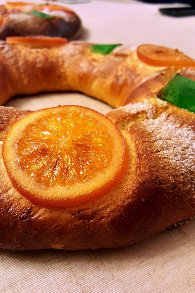 roscón, dulce, naranja confitada, calabazate verde